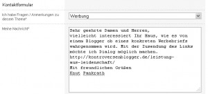 Kontaktformular Deutsche Bank