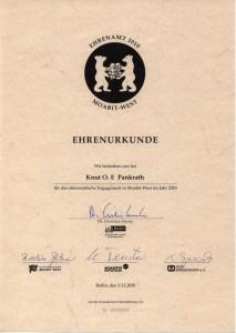 Urkunde Ehrenamt