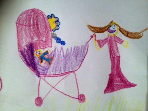 Mama und Kinderwagen